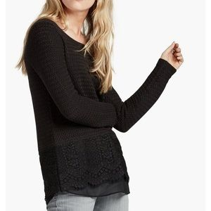 NWT Lucky Brand Lace Mix Sweater Knit Black